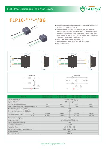 FATECH 20kA LED street light surge protection device FLP10 series  for outdoor and commercial LED lighting applications
