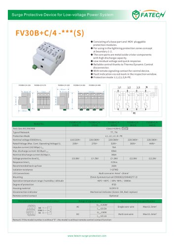 FATECH 60kA surge protector FV30B+C/4-150 for AC power system