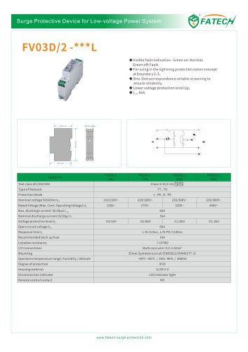 FATECH 6kA type 3 surge protector FV03D/2-150L with LED display