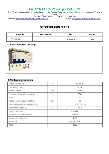 FATECH circuit breaker FTL20-63 for ac circuit