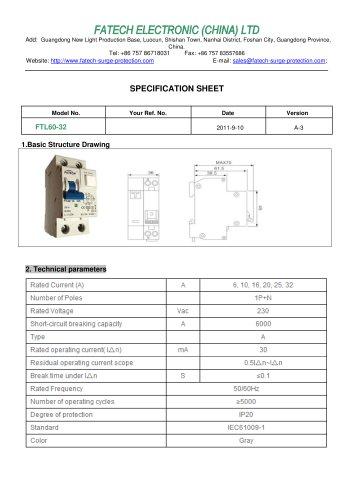 FATECH circuit breaker FTL60-32 for ac circuit