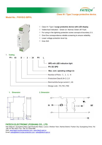 FATECH DC Surge Protector FV01D/2-30PVL with LED display