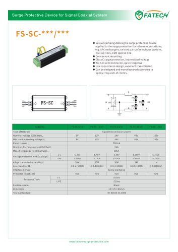 FATECH Signal Telephone surge arrester FS-SC-110/1-A for applied to the surge protection for telecommunications, e.g. SPC exchangers