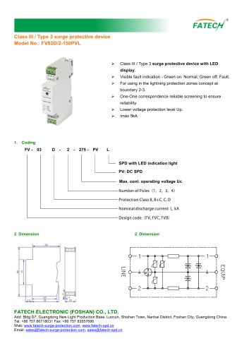 FATECH surge arrester FV02D/2-150PVL for protection of dc pv system