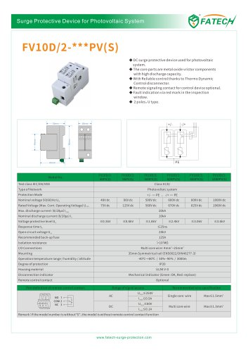 FATECH surge arrester FV10D/2-100PV for protection DC system