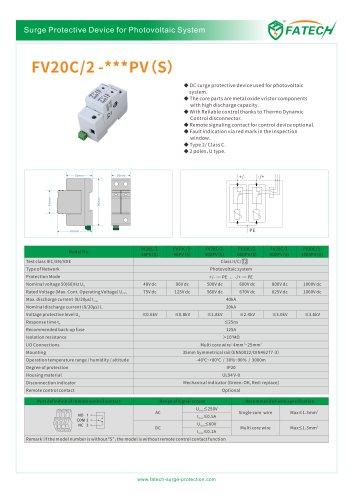 FATECH surge arrester FV20C/2-48PV for DC solar protection