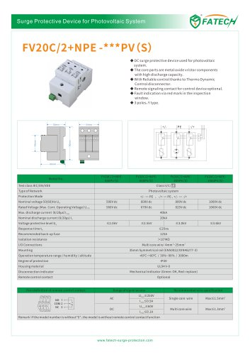 FATECH surge arrester FV20C/2+NPE-1000PV S for protection of PV solar system