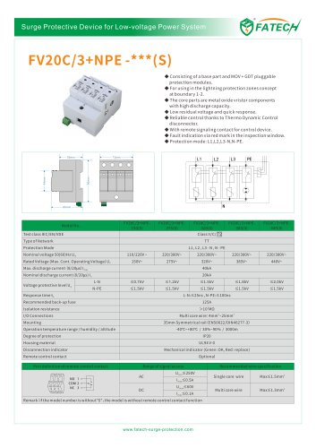 FATECH surge arrester FV20C/3+NPE-275S for 3phase ac spd protection