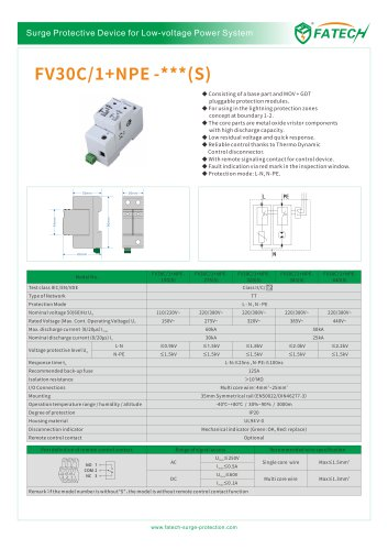 FATECH surge arrester FV30C/1+NPE-275 for ac 1 phase power supply