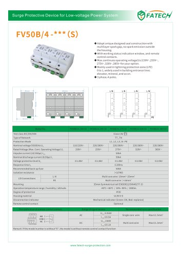 FATECH surge arrester FV50B/4-320S for class 1 AC protection