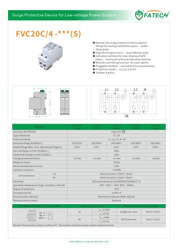 FATECH surge protector FVC20C series for power system protection