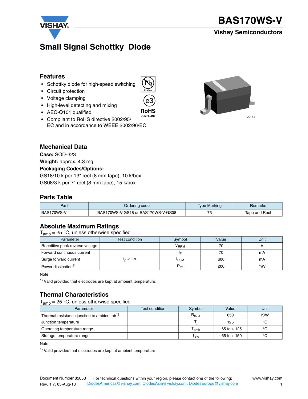 Diodes Small Signal Schottky Bas170ws V Vishay Pdf Electrical Relay Testing 1 3 Pages