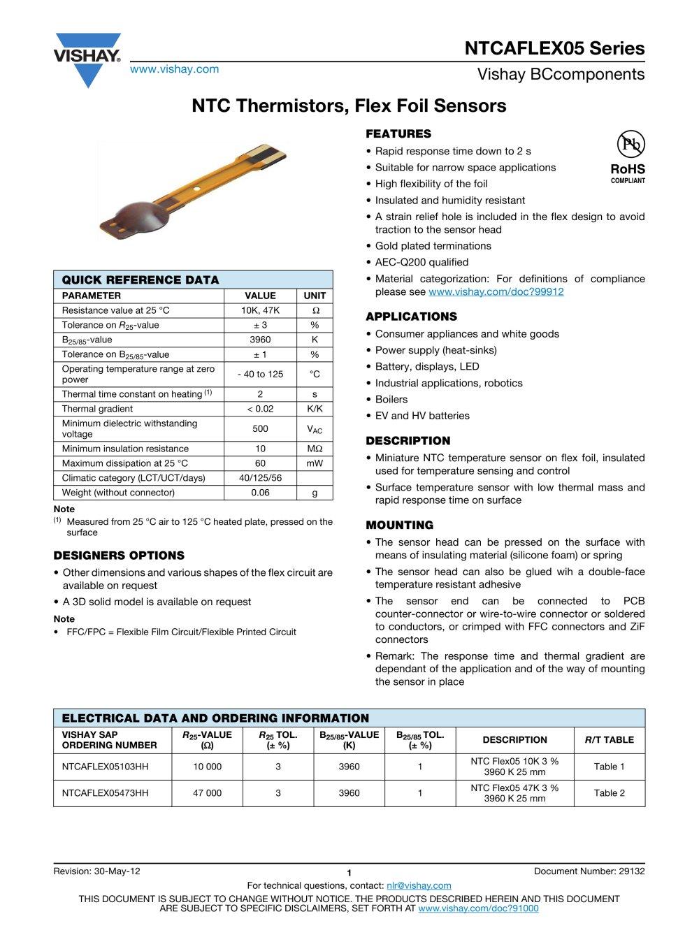 Ntcaflex05 Series Resistors Non Linear Automotive Temperature Sensing 1 5 Pages
