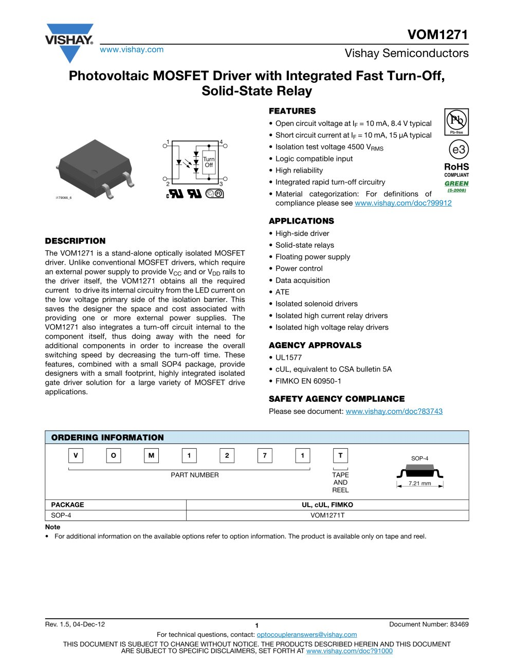 VOM1271 SOLIDSTATE RELAYS VISHAY PDF Catalogue Technical