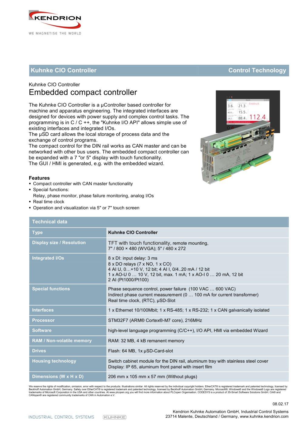 Kuhnke CIO Controller - Kendrion Kuhnke Automation GmbH - PDF