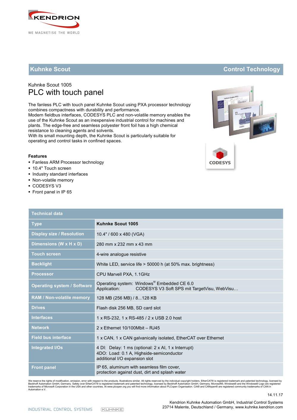 Kuhnke Scout 1005 - Kendrion Kuhnke Automation GmbH - PDF Catalogue ...