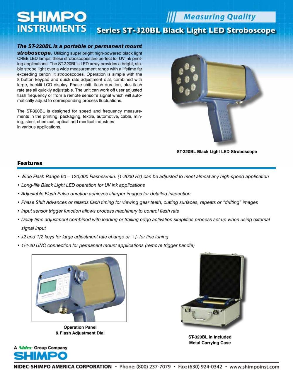 St 320bl Uv Black Light Led Stroboscope Nidec Shimpo Pdf Strobe 1 2 Pages