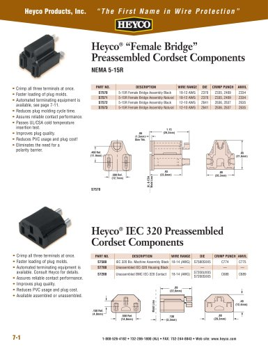 "Heyco® ""Female Bridge"" Preassembled Cordset Components"