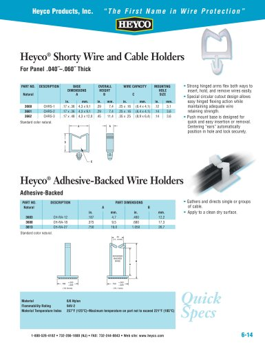 Heyco® Shorty Wire and Cable Holders - Heyco - PDF Catalogue ...