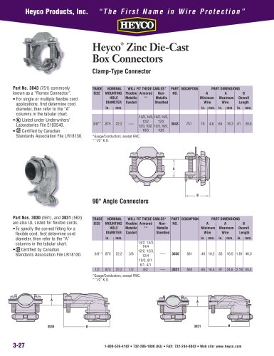 Heyco® Zinc Die-Cast Box Connectors Clamp-Type Connector - Heyco ...