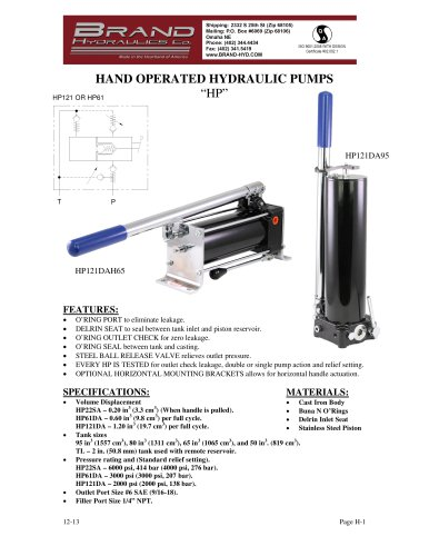 HP - Hand operated hydraulic pumps - BRAND HYDRAULICS - PDF