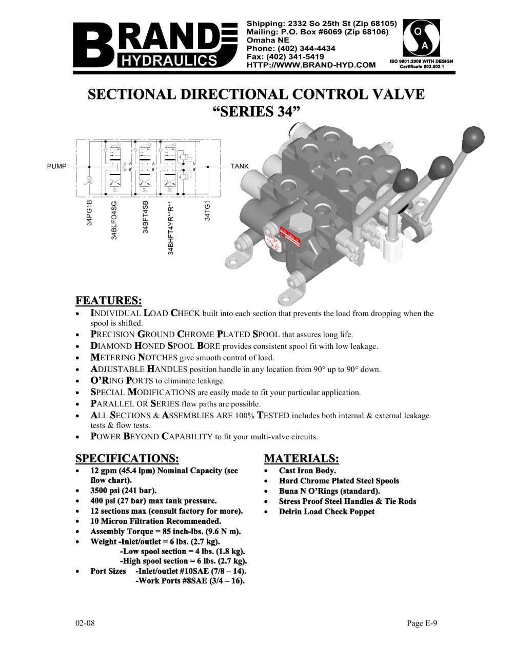 Sectional directional control valve series 34 brand hydraulics sectional directional control valve series 34 1 10 pages nvjuhfo Choice Image