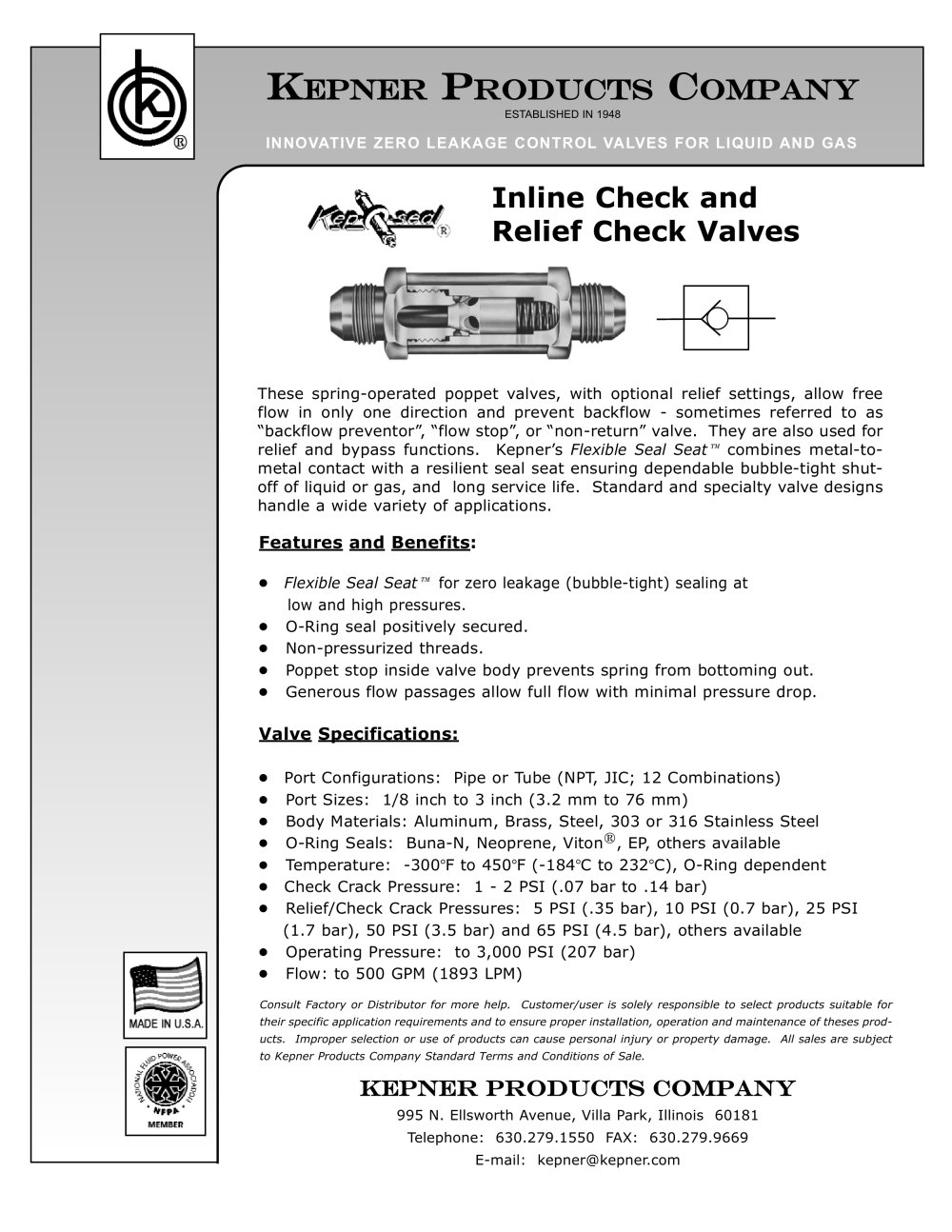 inline check and relief check valves kepner pdf catalogue  inline check and relief check valves 1 1 pages