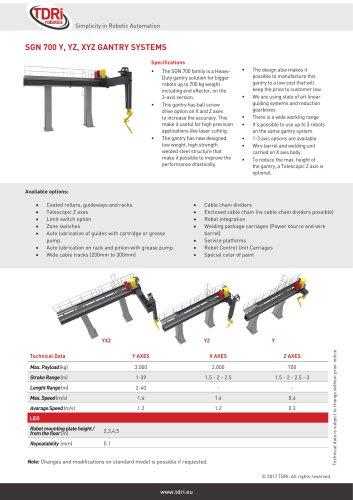 SGN 700 Y, YZ, XYZ GANTRY SYSTEMS - TDRI Robotics AB - PDF