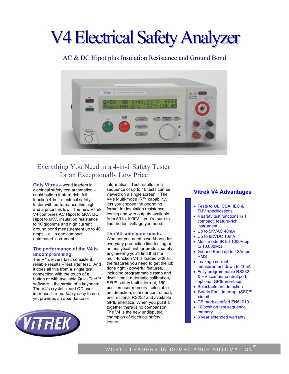 Vitrek Hipot Electrical Safety Analyzer Pdf Catalogue Everything How To Test Circuits Like A Pro Part 1 2 Pages