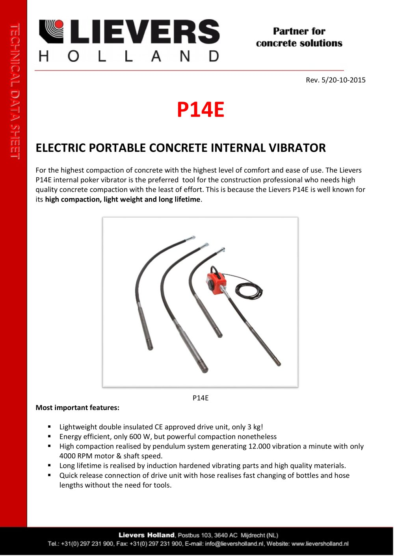 P14E ELECTRIC PORTABLE CONCRETE INTERNAL VIBRATOR - LIEVERS HOLLAND ...