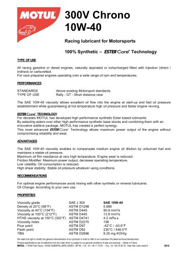 300V Chrono 10W-40 - MOTUL TECH - PDF Catalogs | Technical