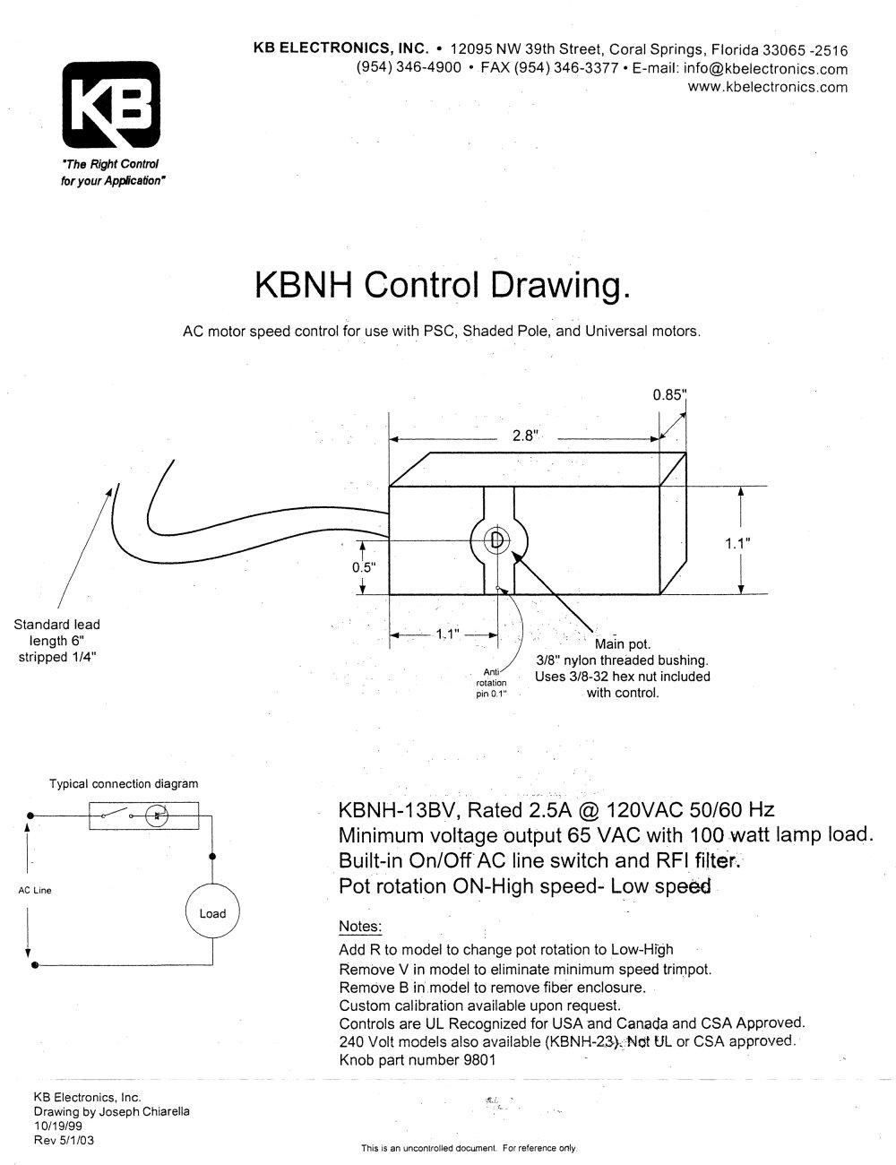 Panel Mount Ac Motor Fan Controls Kbnh 13bv Kb Electronics Inc Wiring Diagram 1 Pages