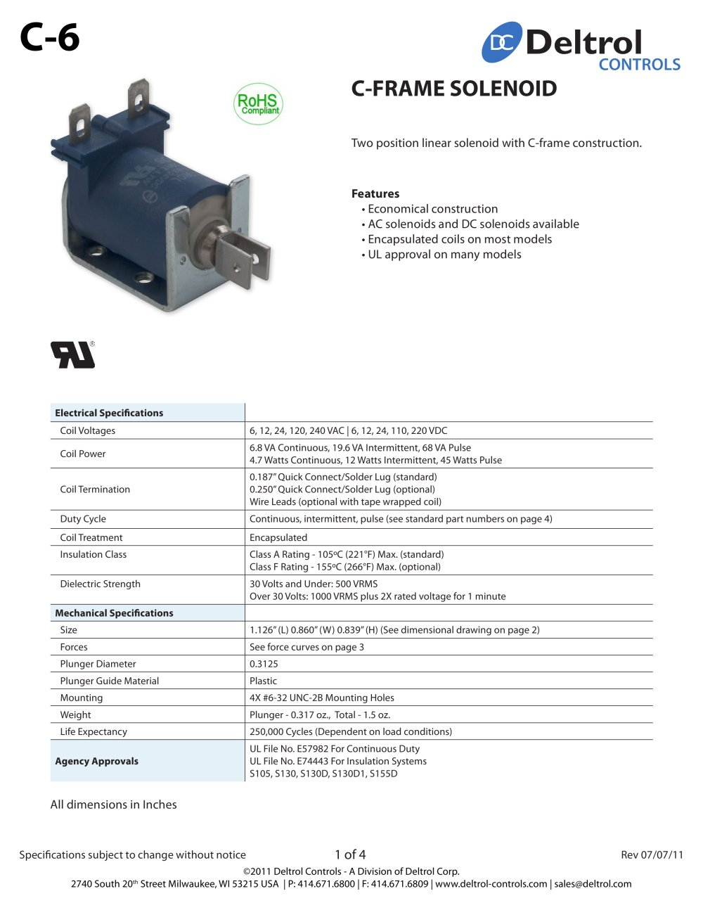 C 6 Frame Solenoid Deltrol Controls Pdf Catalogue Technical Standard 12 Volt Wiring Diagram 1 4 Pages