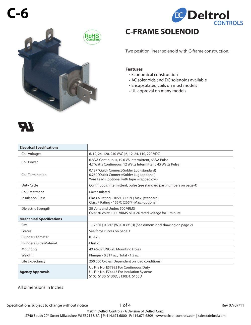 C 6 Frame Solenoid Deltrol Controls Pdf Catalogue Technical 12 Volt Wiring Diagram 5 Connection 1 4 Pages