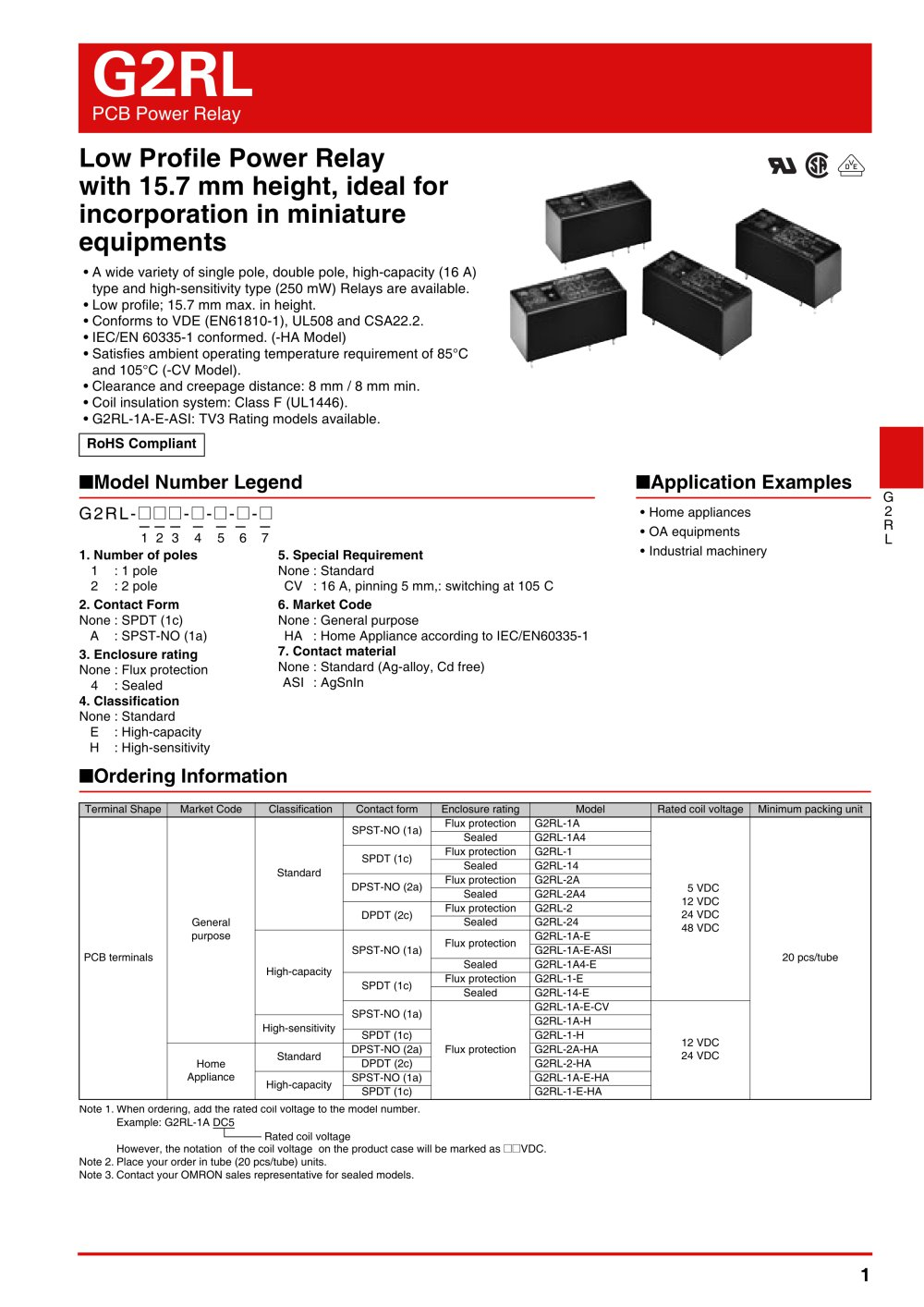 G2RL - OMRON Electrical Components - PDF Catalogue | Technical ...