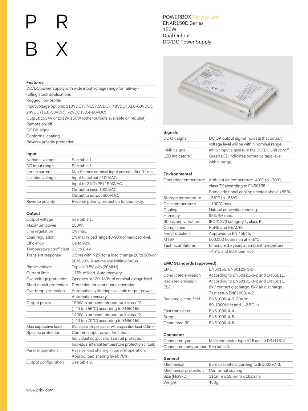 Enar150d Series Powerbox Pdf Catalogue Technical Documentation 5vdc To 12v And Isolated Dual Power Supply 1 3 Pages