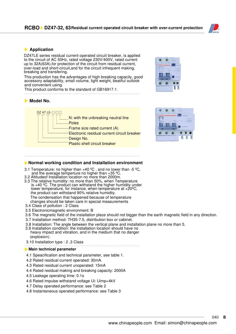 Dz47le Series Rcbo People Ele Appliance Group Co Ltd Pdf Short Circuit Appliances 1 2 Pages