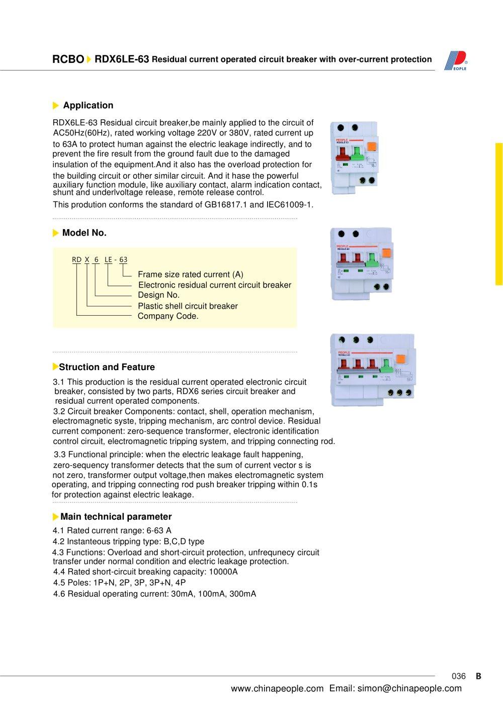 Rdx6le 63 Series Rcbo People Ele Appliance Group Co Ltd Pdf Short Circuit Appliances 1 2 Pages