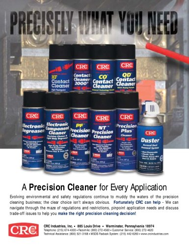 Electrical Precision Cleaners - CRC Industries - PDF Catalogs