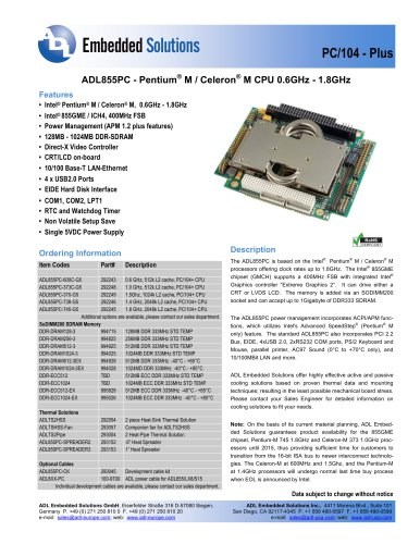 ADL855PC - ADL Embedded Solutions - PDF Catalogs | Technical