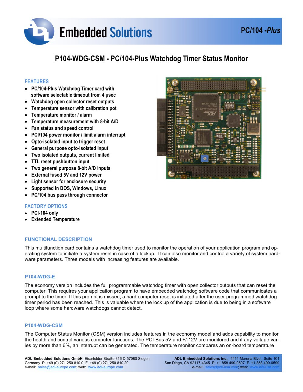P104 Wdg Csma Adl Embedded Solutions Pdf Catalogue Technical Electronic Watchdog Circuit Diagram 1 3 Pages