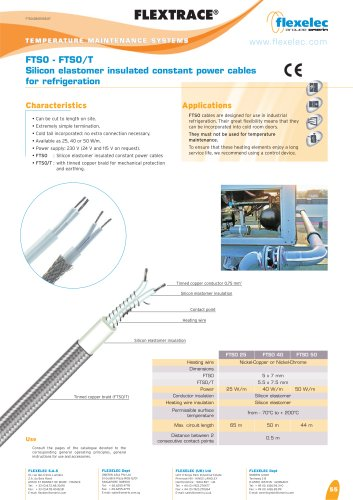 FLEXTRACE - FTSO - Silicon elastomer insulated constant power cables for refrigeration