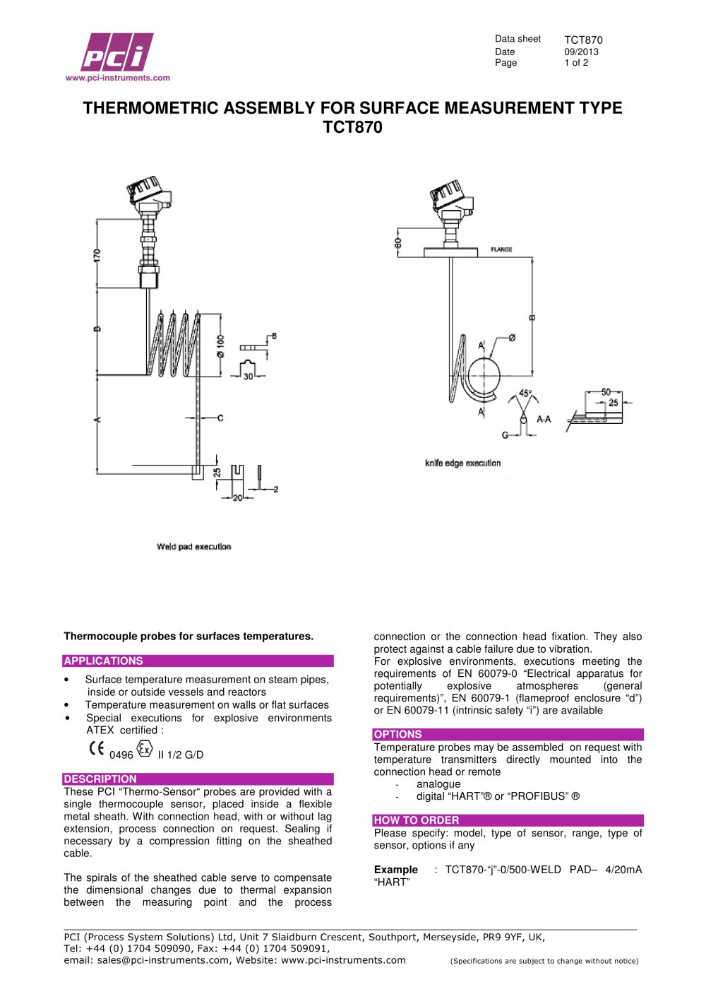Thermocouple & RTD embly for Surface Measurement Type - PCI ...