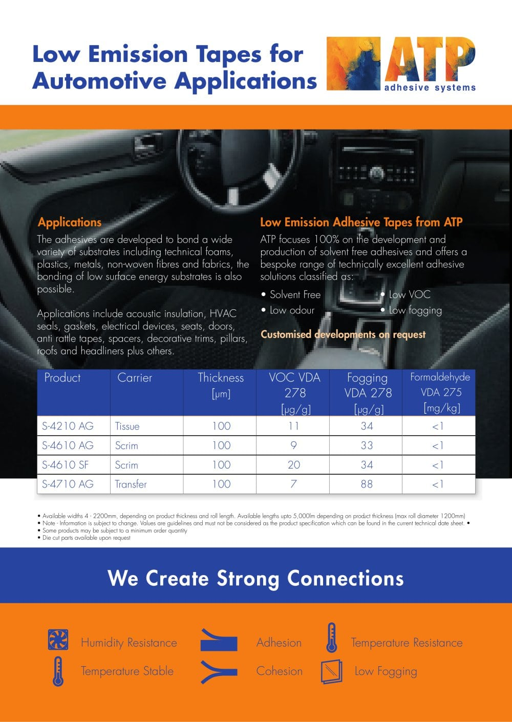 ATP Low Emission Tapes For Automotive Applications