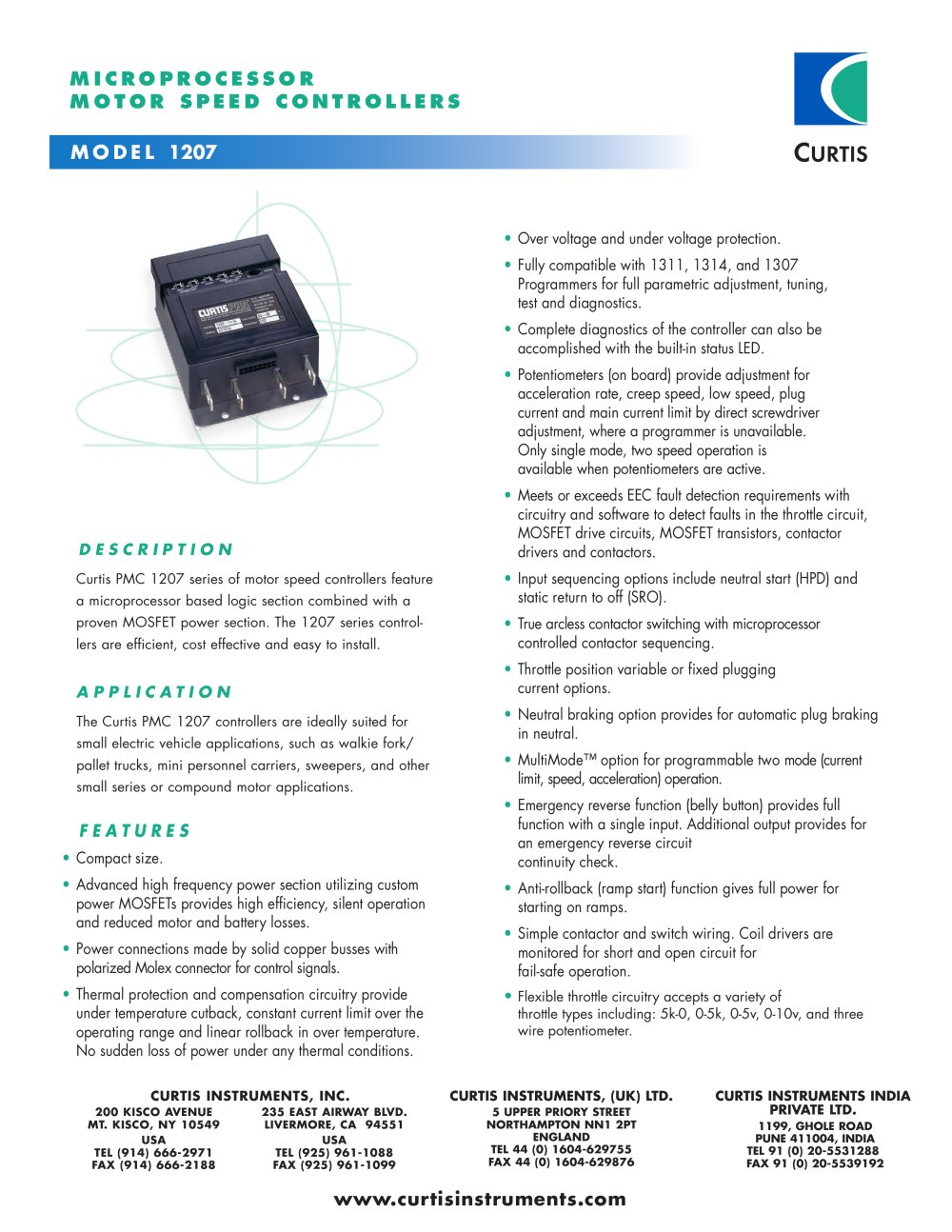 motor speed controllers 1207 curtis instruments pdf catalogue rh pdf directindustry com