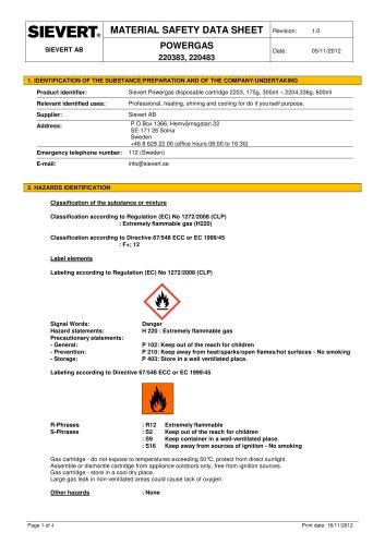 MATERIAL SAFETY DATA SHEET POWERGAS 220383, 2 20483 - SIEVERT AB