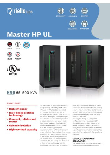 Master HP UL - RIELLO UPS - PDF Catalogs | Technical