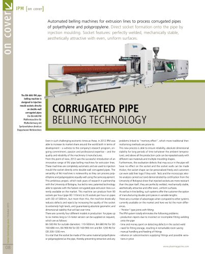 Corrugated pipe belling technology - ipm srl - PDF Catalogs