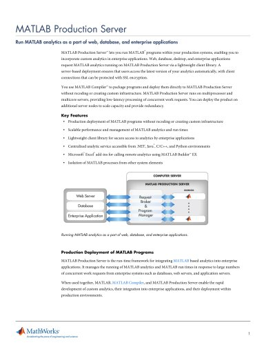 MATLAB Production Server - The MathWorks - PDF Catalogs | Technical