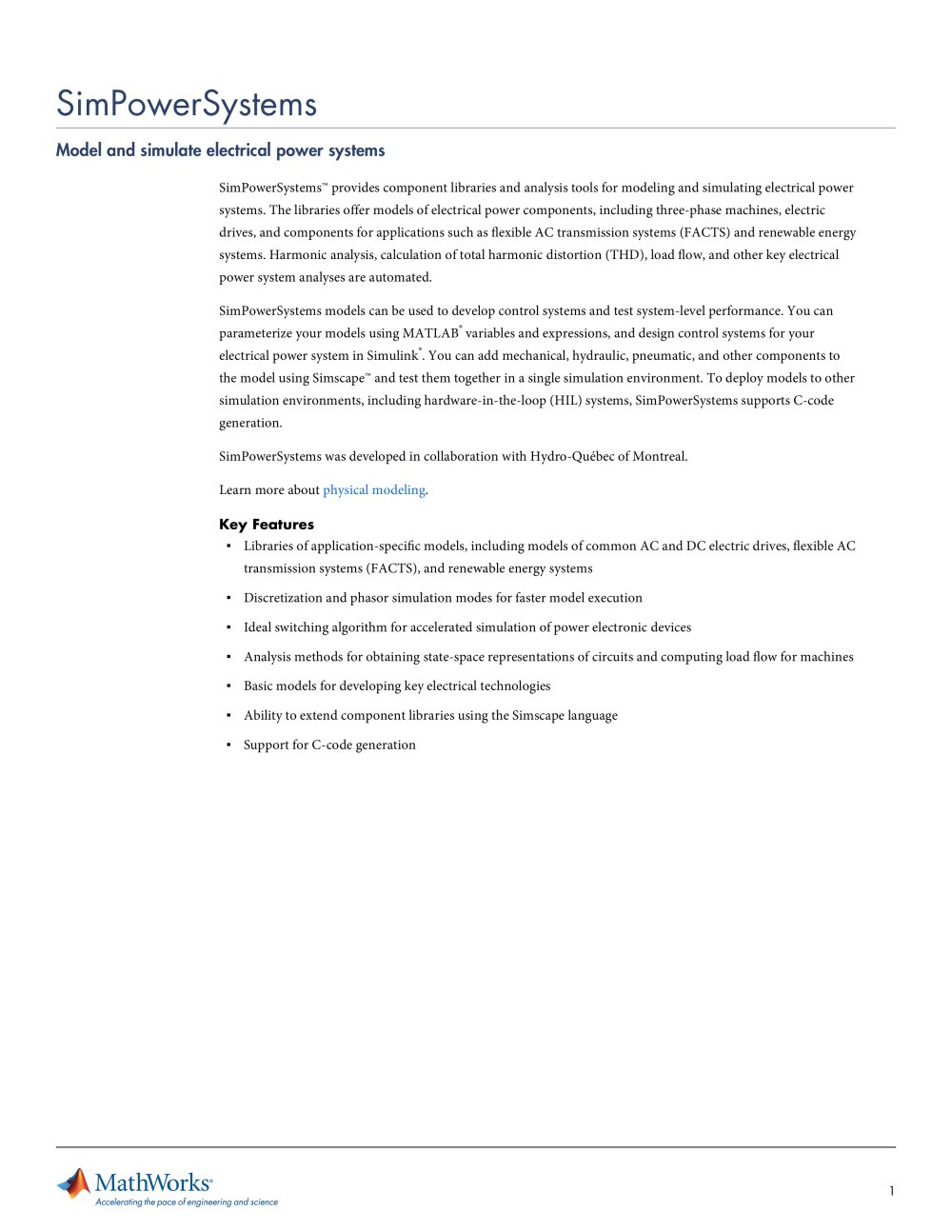 SimPowerSystems - The MathWorks - PDF Catalogue | Technical ...